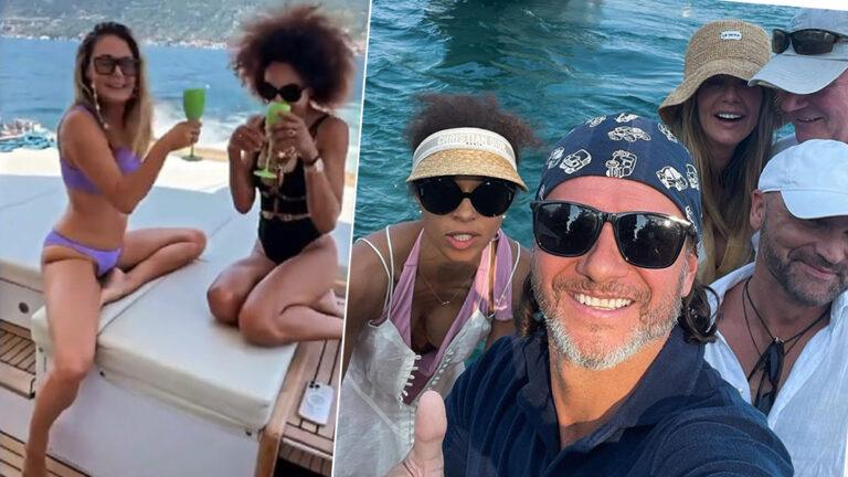 Rozenek i Majdan w towarzystwie Omeny Mensah i jej męża biznesmena relaksują się na jachcie. Luksus to mało powiedziane